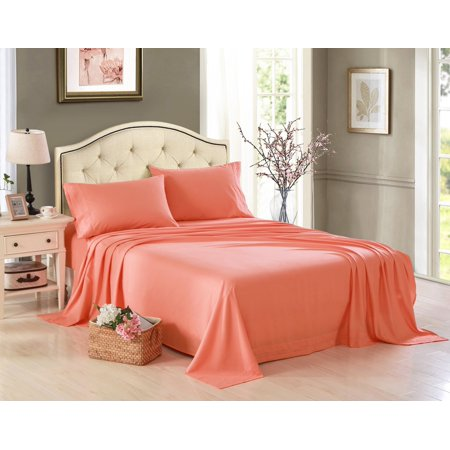 Honeymoon 1800 Brushed Microfiber Embroidered Bed Sheet Set, Ultra Soft, Queen - Coral