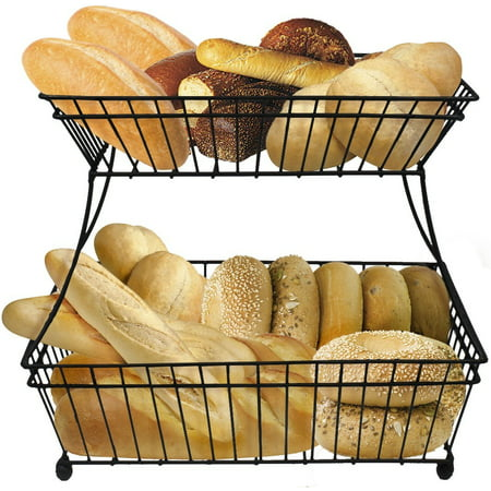 Sorbus 2-Tier Metal Bread Basket, Great for Bread, Fruit, Vegetables and More, - Black Metal Basket