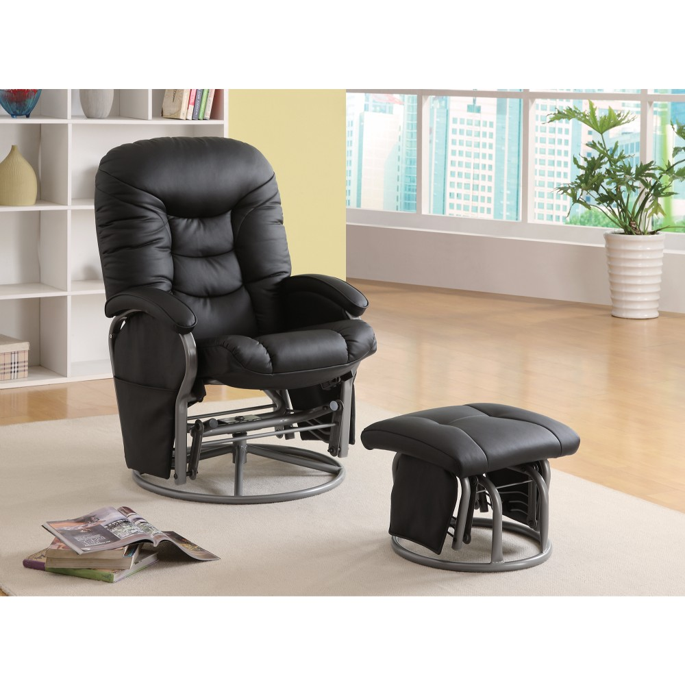 Stylishly Sophisticated Glider Chair With Ottoman, Black by Benzara