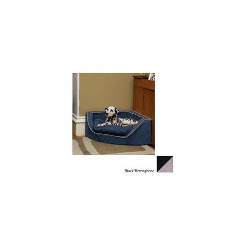 Snoozer Luxury Corner Pet Bed - Large/Black/Herringbone