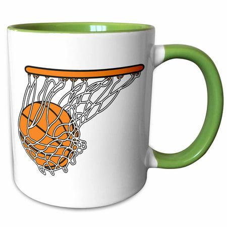 3dRose Basketball Woosh Ball In Net Vector Illustration Sports Design - Two Tone Green Mug, (0.18 Ounce Net)