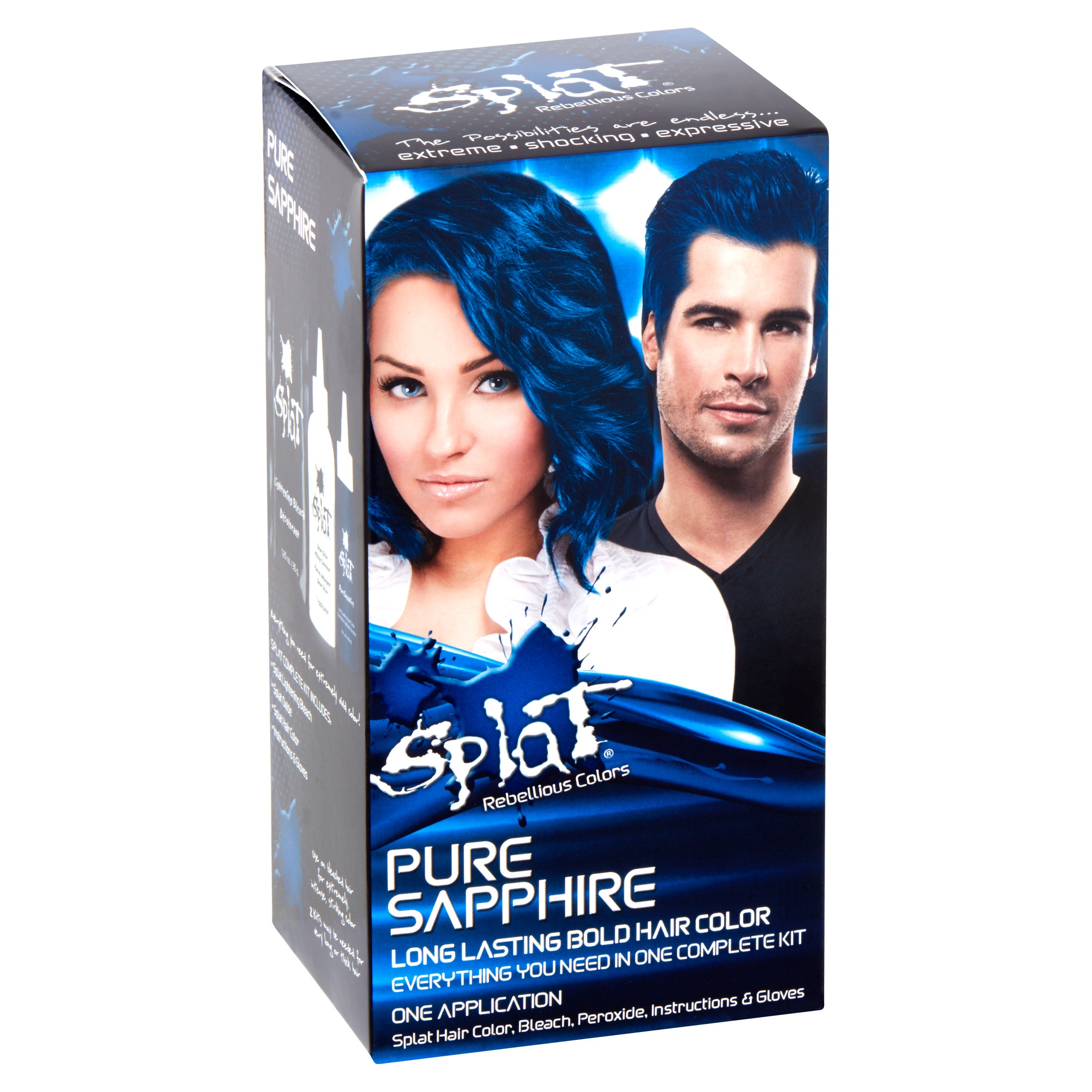 Splat 30 Wash Semi Permanent Hair Dye Kit Pure Sapphire Blue Color