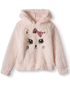 Miss Chievous Girls' Sequin Critter Plush Sherpa Hoodie