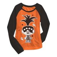 Girls Orange Trolls Poppy Long Sleeve Ghost Halloween T-Shirt