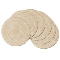 Coolmade Round Rop Cotton Braided Table Place Mats Braided Coaster Placemas Non-Slip Table Mats Set of 6 for Dining Kitchen Table Washable 15 inch