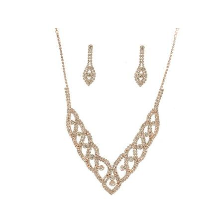 Fashion Jewelry Set Rose Gold Plating Necklace Earrings Set Akoya Gold Jewelry Set