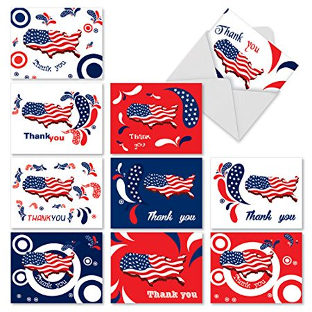 'M2376TYG UNITED THANKS OF AMERICA' 10 Assorted Thank You Note Cards Featuring the United States Map Depicted in Patriotic Stars and Stripes with Envelopes by The Best Card