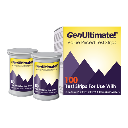 GenUltimate!® 100 Count Blood Glucose Test Strips: Accurate Blood Glucose Test Strips For Use With OneTouch Ultra, Ultra2, and UltraMini (One Touch Ultra Mini Blood Glucose Meter Kit)