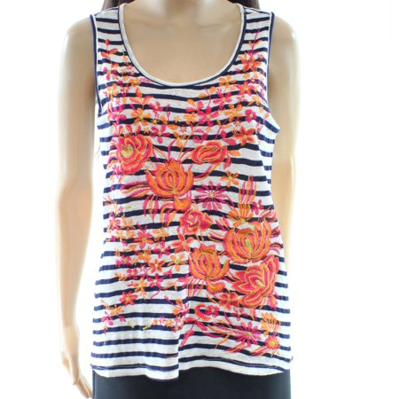 Fever New Blue Womens Size Large L Striped Floral Print Tank Cami Top