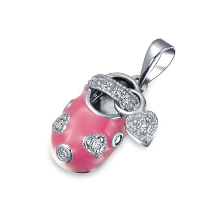 a2d6365b31437 Girl Baby Shoe Charm Pendant Gift for New Mother Women Pink CZ Heart  Engravable 925 Sterling Silver