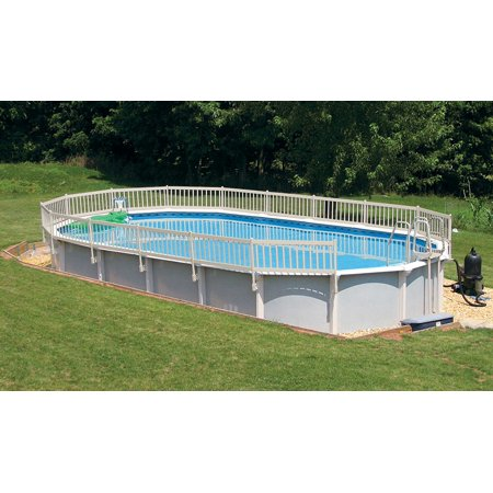 24 inch resin above ground pool fence kit taupe fence to for Above ground pool vinyl decks