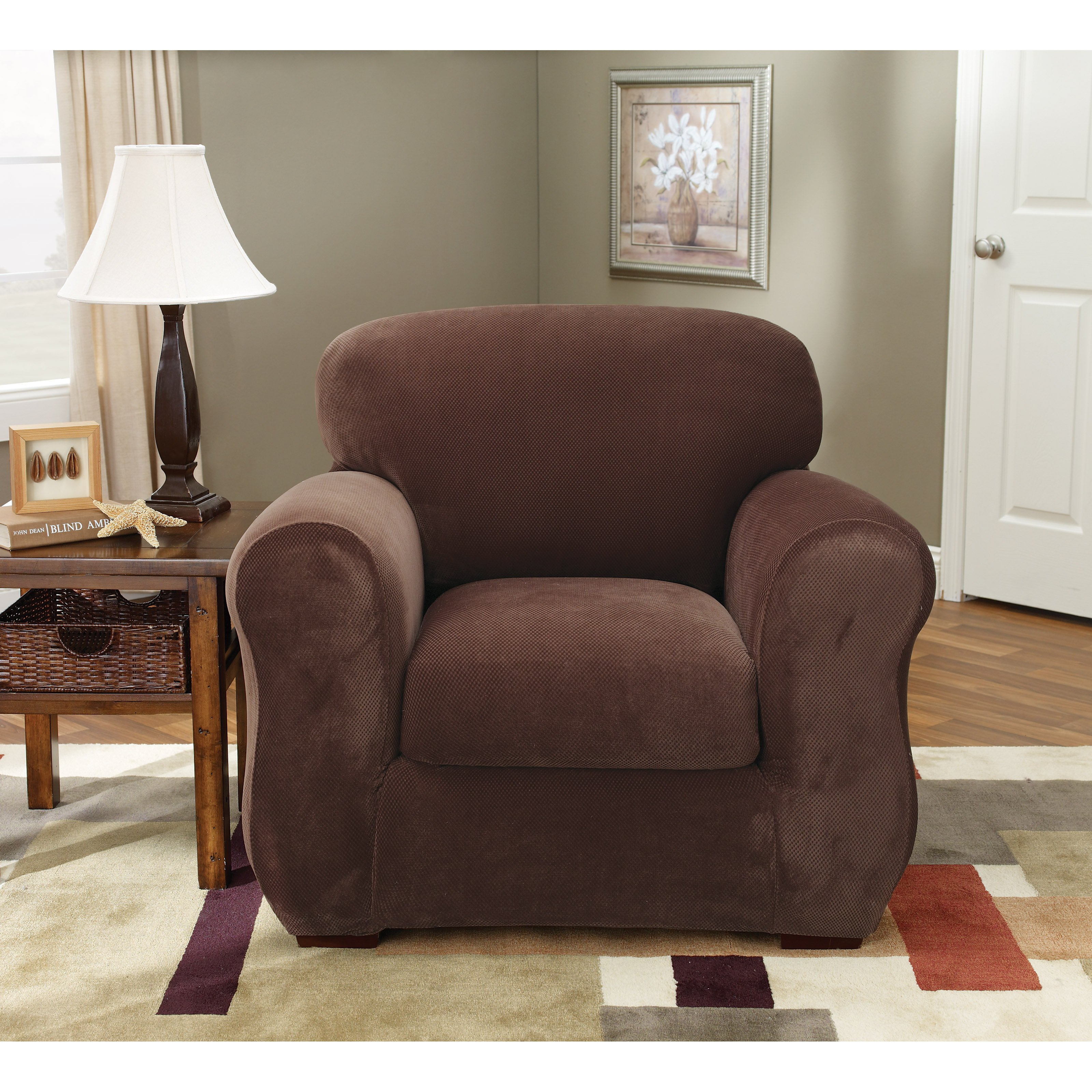 Sure Fit Stretch Pique Three Piece Chair Slipcover