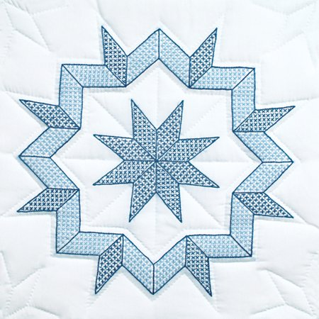 Jack Dempsey Kaleidoscope Star Stamped White Quilt Blocks, 18