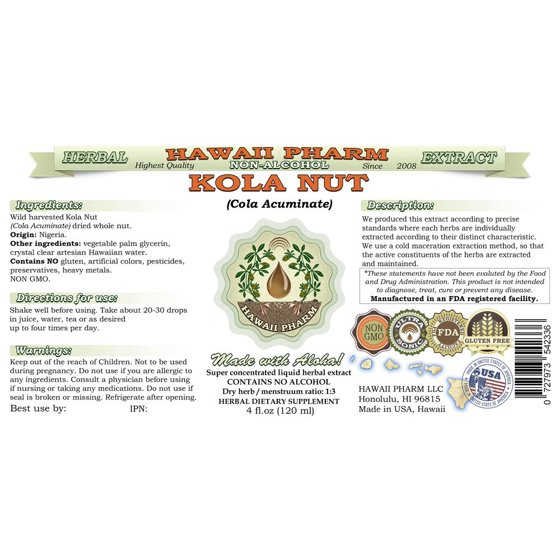 Kola Nut (Cola Acuminate) Glycerite, Whole Nut Alcohol-Free Liquid Extract,  Cola Nut, Glycerite Herbal Supplement 64 oz