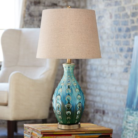 - 360 Lighting Mid Century Modern Table Lamp Vase Teal Handmade Tan Linen Tapered Drum Shade for Living Room Family Bedroom Bedside