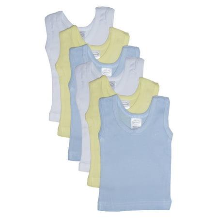 Bambini Baby Boy's White, Blue, Yellow Rib Knit Pastel Sleeveless Tank Top Shirt ()