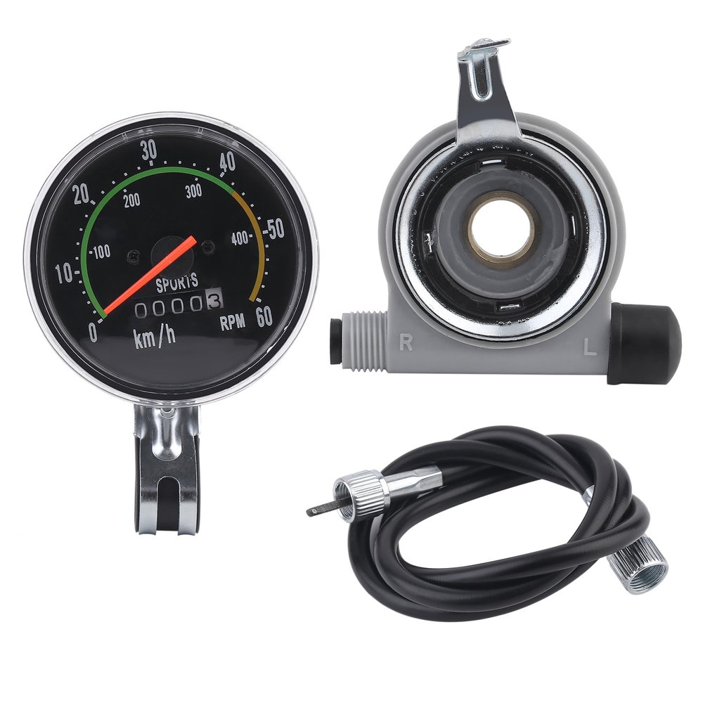Bicycles Exercycle Cycling Universal Analog Mechanical Speedometer Gauge Resettable Odometer Bikes Equipment