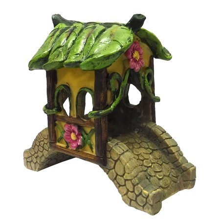 Giftcraft Mini Fairytale Arched Covered Bridge with Flowers & - Halloween Vine Arch