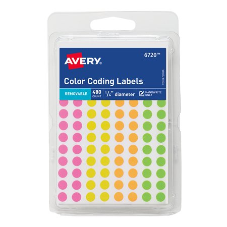 Avery(R) Assorted Removable Color-Coding Labels 6720, 1/4