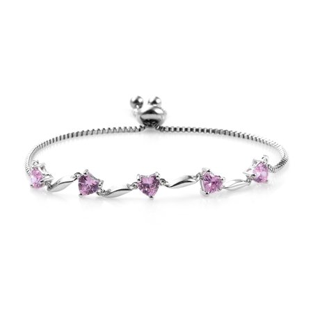 Bolo Bracelet Heart Cubic Zircon Pink Stainless Steel Gift Jewelry for Women Ct 3 - Pink Heart Gift