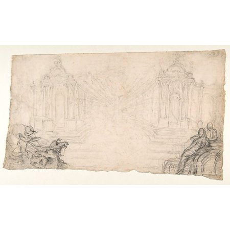 Design for a Festival Display of Fireworks (recto) Small Figures by a different hand (verso) Poster Print by Attributed to Laurent Hubert (French died ca 1780) (18 x 24)