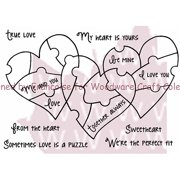 """Woodware Clear Stamps 5.5"""" x 3.5"""" Sheet, Heart Puzzle"""