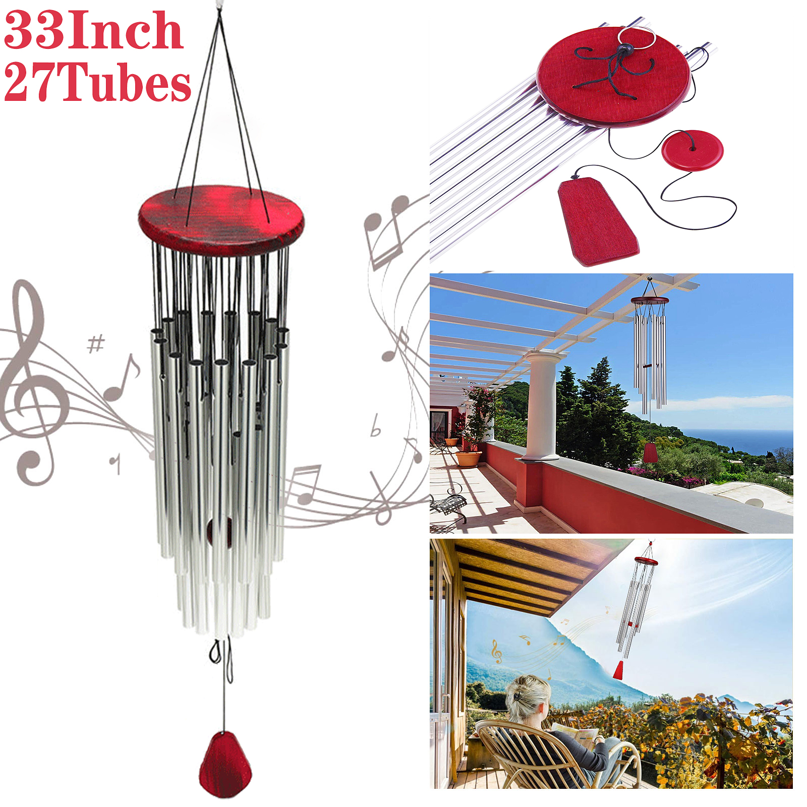 Large 27 Tubes Windchime Chapel Bells Wind Chimes Outdoor Garden Home Decor 33/'/'