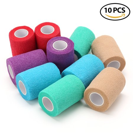 Vet Wrap Bandages for Dog Pet Horse Cat - LotFancy Self Adherent Cohesive Tape, 10 Rolls, Assorted Colors, FDA Approved, 3 Inches x 5 Yards ?
