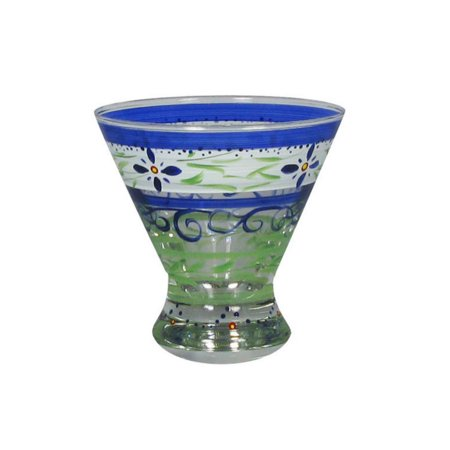 Set of 2 Blue Floral Hand Painted Cosmopolitan Wine and Dessert Glasses - 8.25 Ounces