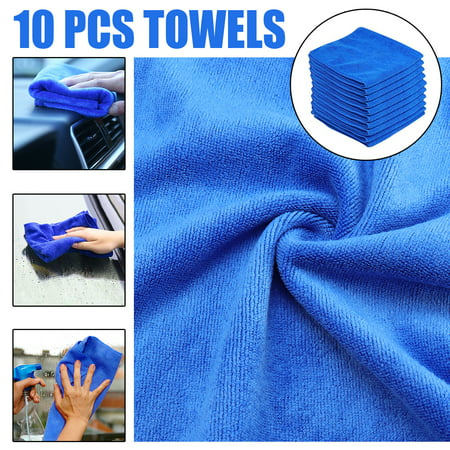 10pcs Microfiber Cleaning Cloth No-Scratch Rag Car Polishing Detailing Towel For Auto Shops Mechanics