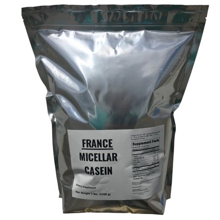 Best Casein Protein Powder 5 lbs FROM FRANCE - 5 LB 100% Fresh Curd Casein From French Farms - BULK - GMO Free, Soy Free, Preservative Free - Slow Release Protein - 75