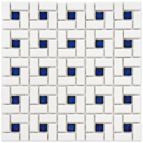 EliteTile Retro 12-1/2'' x 12-1/2'' Glazed Porcelain Spiral Mosaic in White and Blue