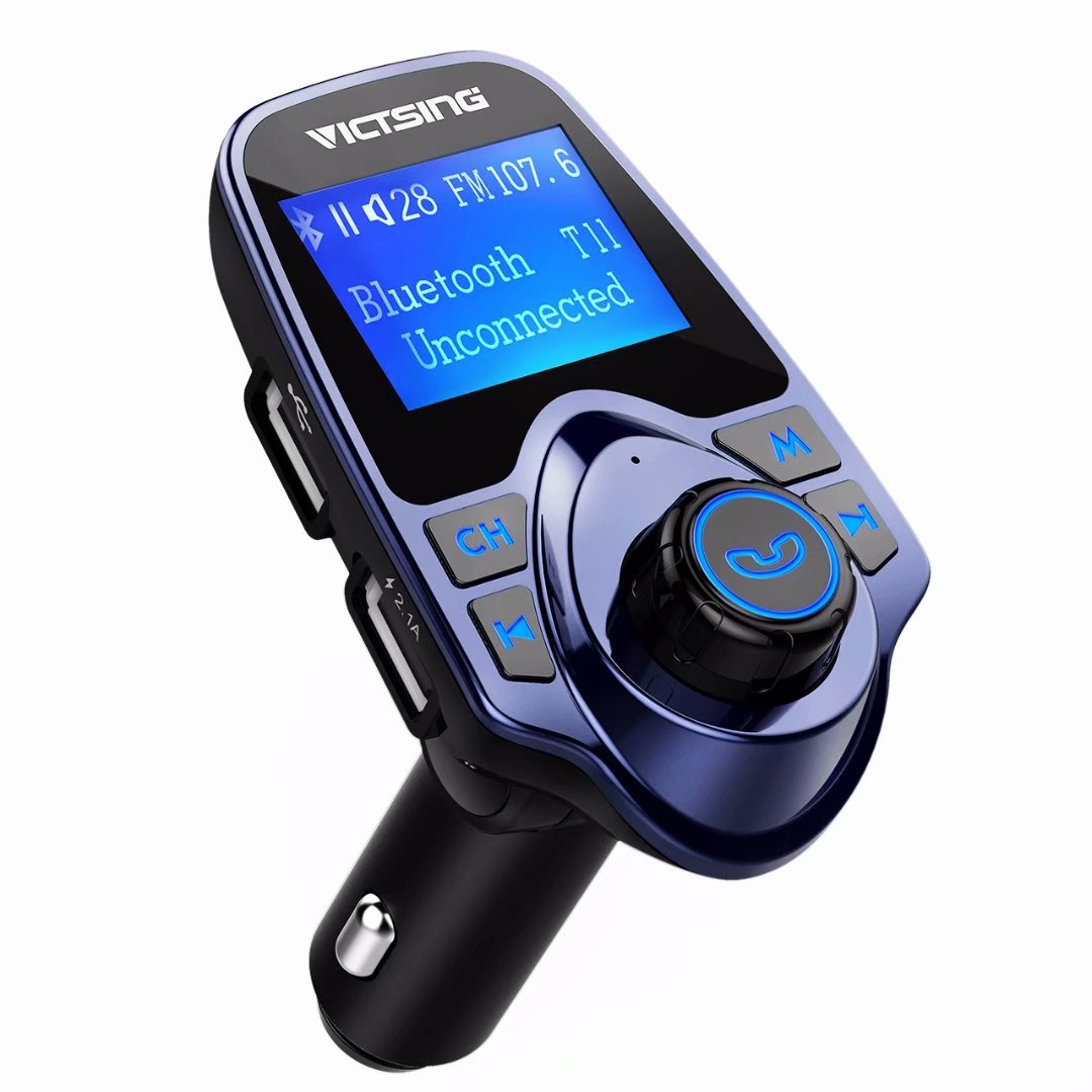 "VicTsing Bluetooth FM Transmitter for Car, Wireless Bluetooth Radio Transmitter Adapter with Hand-Free Calling and 1.44"" LCD Display, Music Player Support TF Card USB Flash Drive AUX (Blue)"