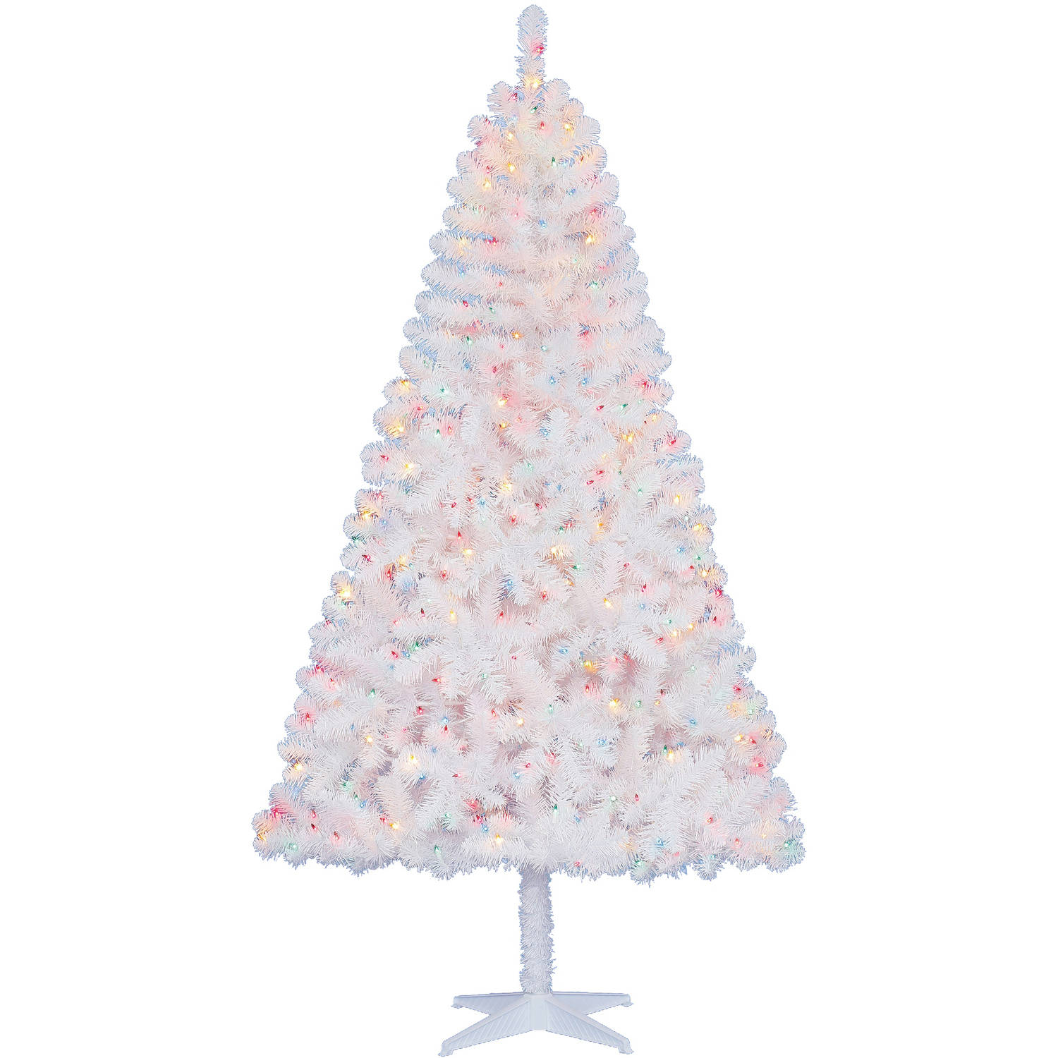 Artificial Christmas Tree With Clear And Colored Lights Part - 33: Holiday Time Pre-Lit 6.5u0027 Madison Pine White Artificial Christmas Tree,  Multi Lights - Walmart.com