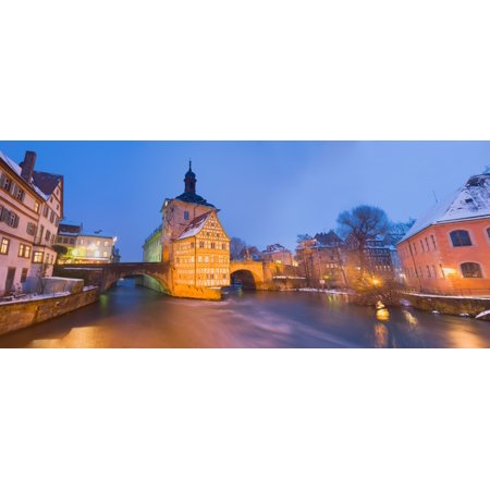 Halloween Town City Hall (Town hall in a city at night Bamberg Germany Canvas Art - Panoramic Images (29 x)