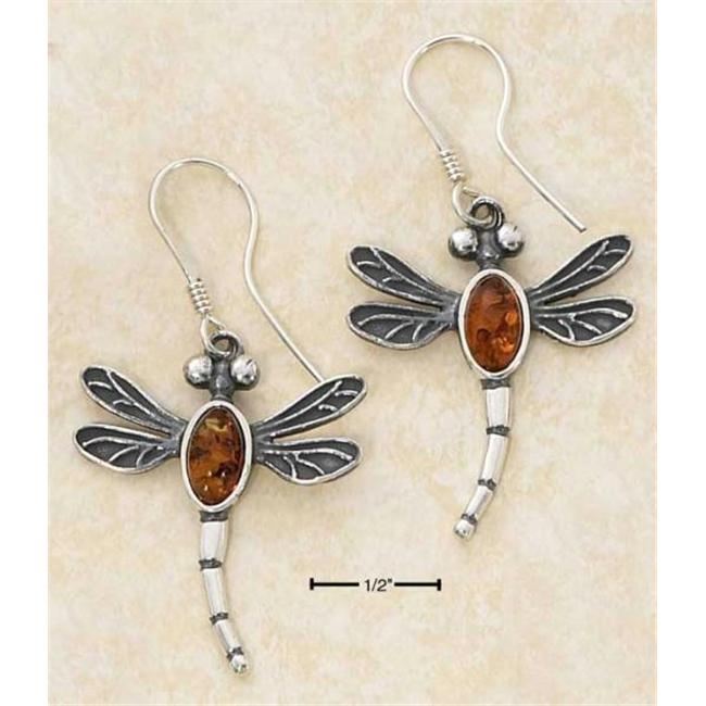 Sterling Silver Antiqued Amber Dragonfly French Wire Earrings - Approx 1 Inch