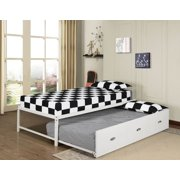 39 twin size white metal day bed frame with drawer roll out trundle