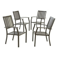 Better Homes & Gardens Camrose Farmhouse Mix and Match Slat-Back Stacking Dining Chair, Set of 4