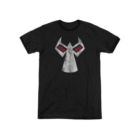 Batman DC Comics Bane Mask Outline Accents Adult Ringer T-Shirt Tee