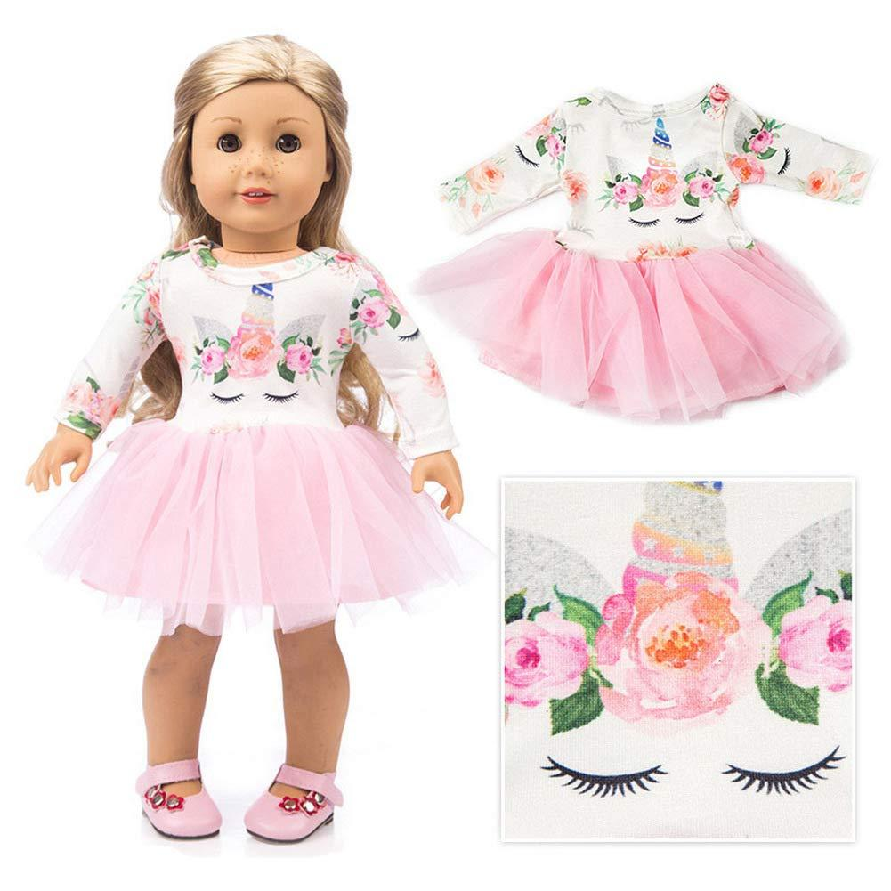 """Fits 18/"""" inch Doll Girls Unicorn Doll Handmade fashion Doll Clothes Outfit Gift"""
