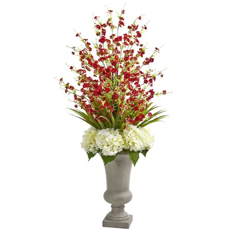 Sand Top Cigarette Urns (Cherry Blossom and Hydrangeas Multicolor Artificial Flower Arrangement in Sand-colored Urn)