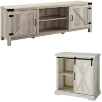 2 Piece Barn Door TV Stand Console and Buffet Side Table Set in Rustic White Oak