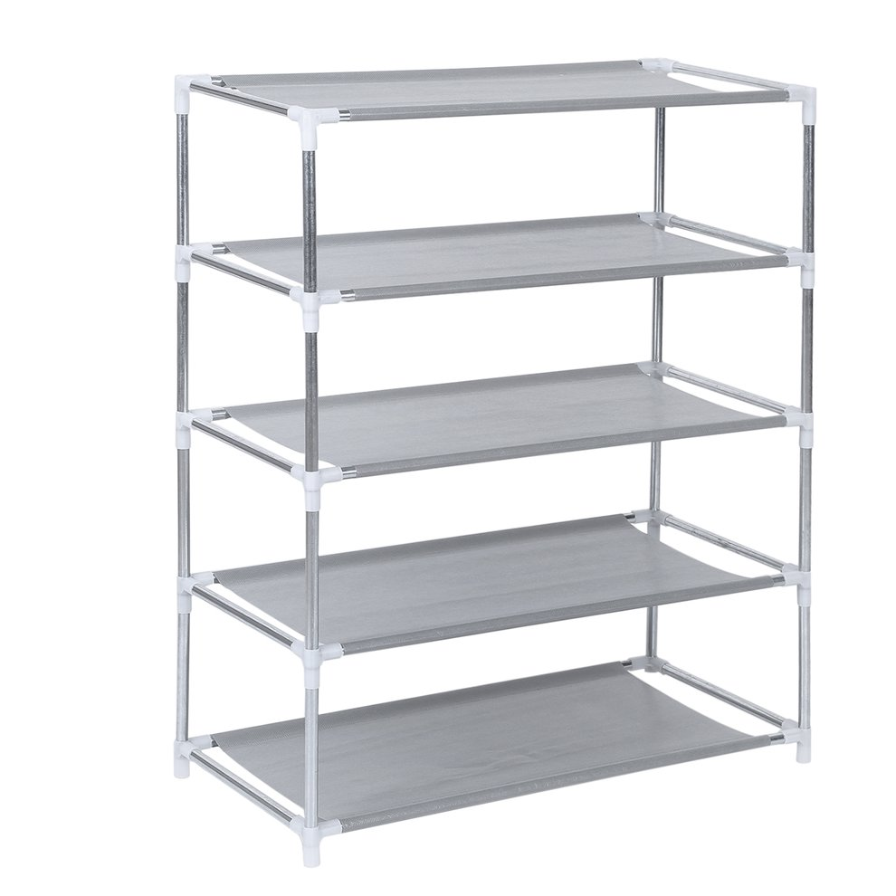 5 Tier Metal Shoe Rack Shoes Stand Removable Dust-Shelves Storage Organizer Shelf Holder Stackable Closet For 15 Pair Shoes