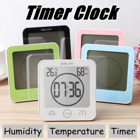Waterproof Shower Bathroom Wall Suction Clock Timer Temperature Humidity Meter 5 Colors ()