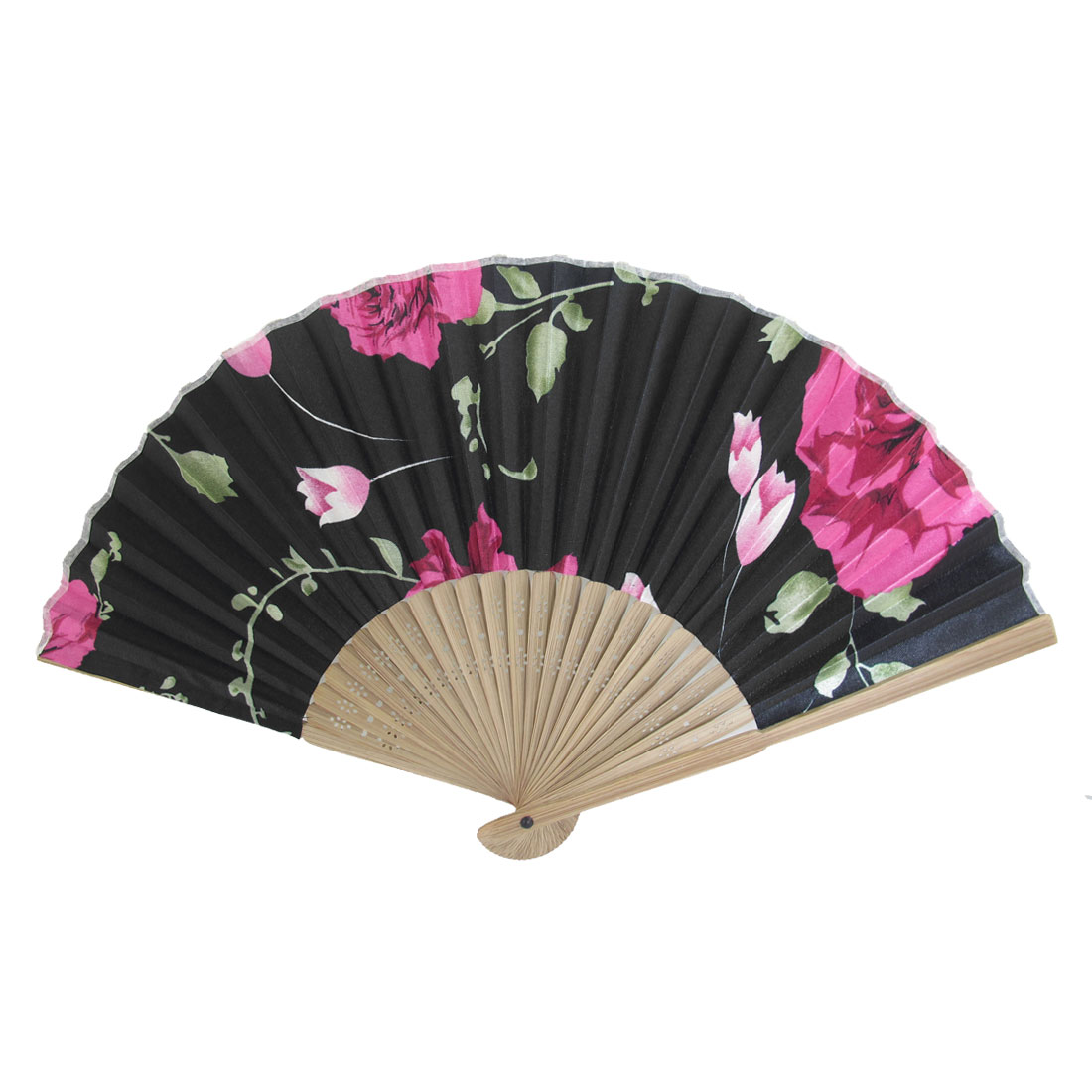 Brown Bamboo Frame Flower Printed Fabric Portable Foldable Hand Fan Black Red