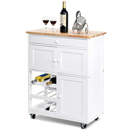 Gymax Modern Rolling Kitchen Cart Trolley Island Storage ...