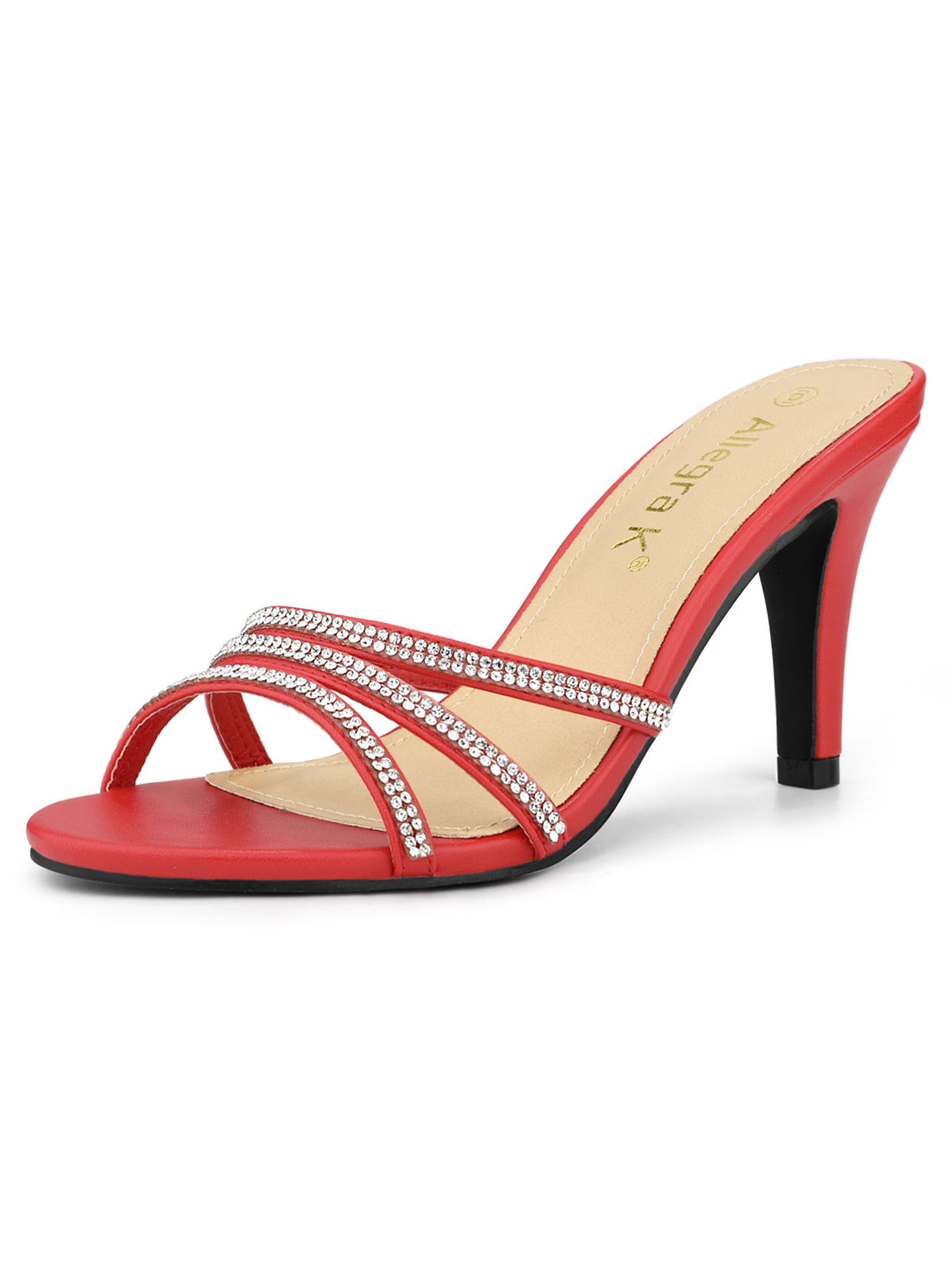 Women's Rhinestone  Strappy Heel Red Mules - 6 M US