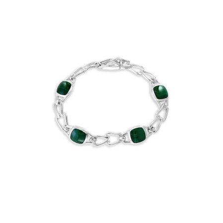 Gento 925 Sterling Silver and Malachite Bracelet Malachite Strand Bracelet