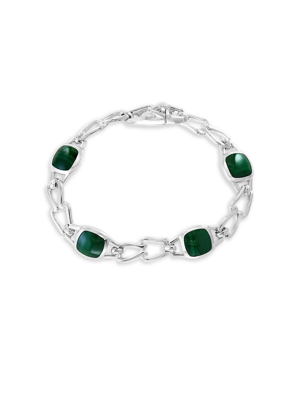 Gento 925 Sterling Silver and Malachite Bracelet