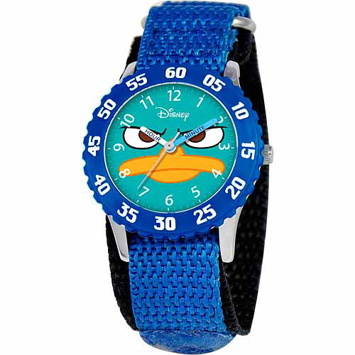 Disney Agent P Boys' Stainless Steel Watch, Blue Strap